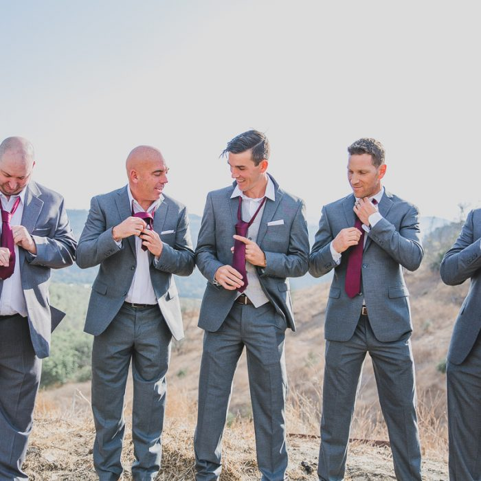 Groom and groomsmen at destination wedding