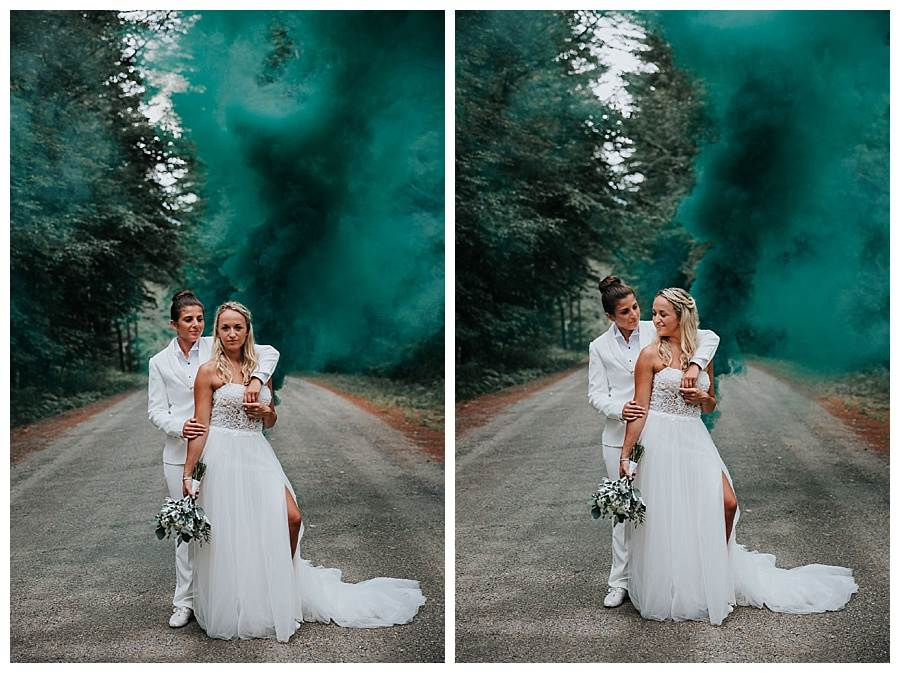 Smoke bomb wedding photography in Stowe, Vermont